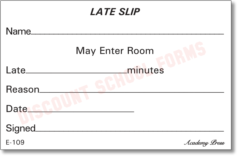 Late Slip School Forms
