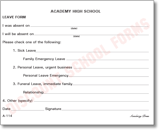 Discount School Forms  Leave Application Form For Office