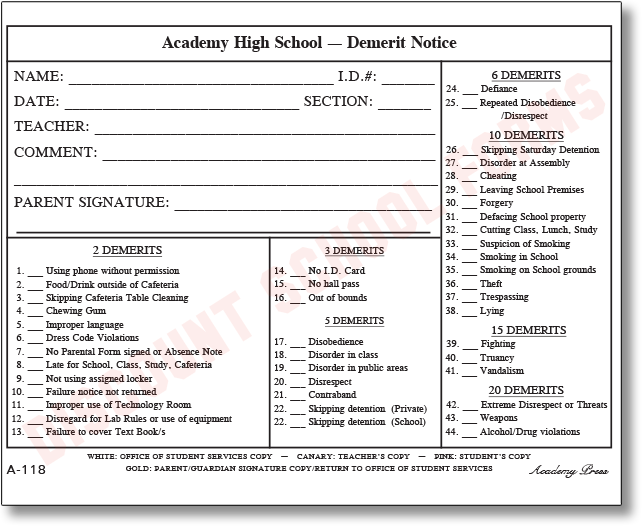 Demerit notice school forms for Detention notice template