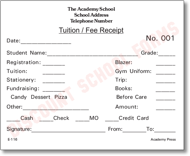 Tuition/Fee Receipt | School Forms
